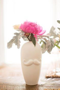 mustache vase