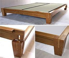 platform bed asian | Close up of bed post. This Japanese style platform bed is constructed ...