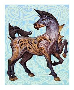 Sleipnir #illustration #horse #norse #mythology #edkwong #pattern #mademythos #nordic #creature #odin