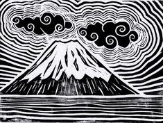 Mount Fuji, Japan Lino Cut Art Print by Michael Christopher Smith Art Lino Art, Woodcut Art, Linocut Prints, Linoprint, Cool Art Drawings, Wood Engraving, Textile Artists, Art And Illustration, Japanese Art