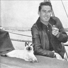 "Errol Flynn on one of his sailboats loving the sea just like me! Captain Blood, Robin Hood, And The Sea Hawk. ""Love him""...."