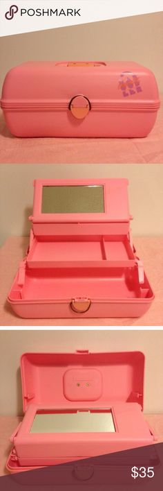"""Vintage CABOODLES pink makeup carrier Awesome throwback!  Vintage CABOODLES of California bubble gum pink make up carry case!  Has a handle and tray inside is included.  A few scuffs here n there from age/use/storage.  Measures 13.5"""" long and is 7.5"""" tall, 7.5"""" wide.  no trades from a non smoking home Caboodles Other"""