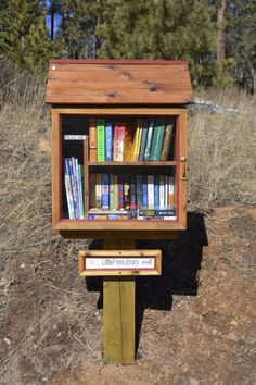 Karen Strong. Conifer, CO. My husband, Thom, surprised me with my Little Free Library for Christmas in 2013. He built it out of an old oak pallet that his brother brought him from Michigan, and made it to look like a barn in Vermont, where I grew up & visit every year. I love the idea of providing a free community resource for people to take books from – books that hopefully expand their love of reading, or that simply take them away from their daily troubles for a few hours.