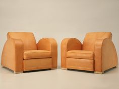 Pair Vintage French Art Deco Roadster Club Chairs