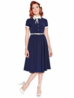 Cynthia #Dress. £89.The Cynthia Dress features a contrast colour belt, buttons, collar & cuffs. The shirt style top of the dress has a feminine touch, which features a removable neck tie, allowing for many different styling options and the skirt has vintage inspired, darted box pleats. #vintage #pinup #rockabilly Available from www.tatyanna.co.uk