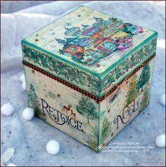 A Christmas box painted - Une boîte de Noël décorée - Les folies de Coco...