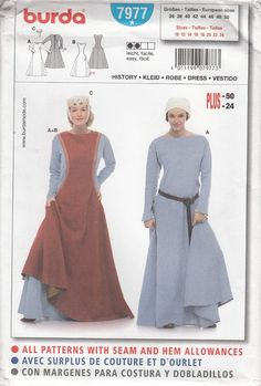 Burda 7977 Medieval Gowns,