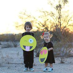 Geschwister mit Emoji Faschingskostüme