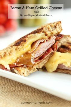 Bacon and Ham Grilled Cheese with Brown Sugar Mustard      4 slices whole grain sandwich or sourdough bread     2 Tablespoons butter, softened     6 oz thin sliced ham     4 oz Gouda cheese, sliced     6 bacon slices, cooked  For Brown Sugar Mustard Sauce:      2 Tablespoon brown sugar     1 Tablespoon Dijon mustard     1 teaspoon maple syrup