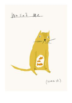 Wasn't Me. Honest. // Cat Didn't Eat the Fish // Print // by FayeMoorhouse #etsy