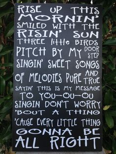 "Bob Marley Three Little Birds Music Lyrics Wood Subway Sign 12"" x 20"" on Etsy, $39.95"