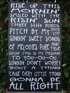 "Bob Marley Three Little Birds Music Lyrics Wood Subway Sign 12"" x 20"" on Etsy, $39.95"