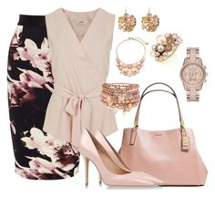 """""""Pale Pink"""" by nettiebaby ❤ liked on Polyvore featuring Coast, Miss Selfridge, Coach, Salvatore Ferragamo, Kenneth Jay Lane, Accessorize, Mimí, MICHAEL Michael Kors and Kate Spade"""