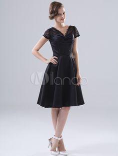 Black V-Neck Lace Satin Cocktail Dress - Milanoo.com
