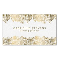 Elegant Gold And White Paisley Wedding Planner Double-Sided S Business Cards (Pack Of This great business card design is available for customization. All text style, colors, sizes can be modified to fit your needs. Just click the image to learn more! Paisley Wedding, Name Card Design, Bussiness Card, Elegant Business Cards, Calling Cards, Name Cards, Trendy Wedding, Business Card Design, Wedding Cards
