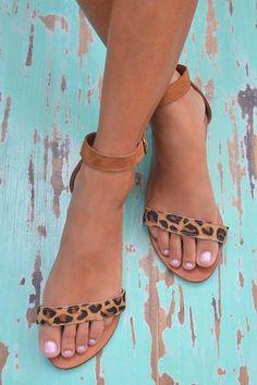 Hot Lava Sandals Jane Leopard Hot Lava - Cognac