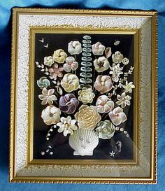 seashell art vintage | eBay Seashell Display, Seashell Frame, Seashell Art, Seashell Crafts, Beach Crafts, Sea Glass Crafts, Water Crafts, Costume Jewelry Crafts, Shell Flowers