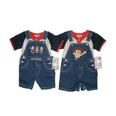 Baby boy clothes#Infant Boys Denim Emroidiery Shortall 2-PC Sets. (Prepack=24 Sets Assorted Sizes/Emb. Designs,Each $6.50)