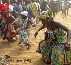 Children dancing at Voodoo festival in Ouidah Benin