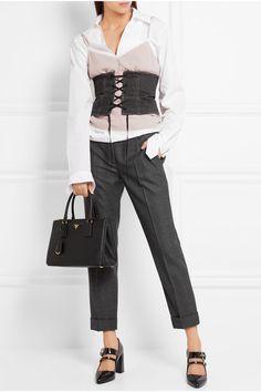 Prada   Galleria medium textured-leather tote   NET-A-PORTER.COM  Prada Saffiano tote perfect for the office   outfit