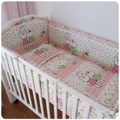 Promotion! 6PCS 100% cotton baby crib bedding set of unpick and wash cot bedding ,include(bumper+sheet+pillow cover)