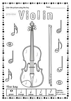 String Instruments Color by Music Pages * Anastasiya Multimedia Studio Tattoos For Kids, Tattoo Kids, Music Worksheets, Music Page, Music Activities, Music Theory, Green And Orange, Coloring Pages, Instruments