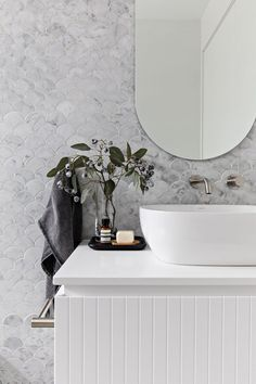 The powder room at Oaks St. The custom vanity or mirror, the brushed nickel tapware or the tiles 🤔 Its a tough… Decor, Laundry In Bathroom, House Bathroom, Interior, Powder Room, Modern Bathroom, Bathroom Design, Beautiful Bathrooms, Shower Design
