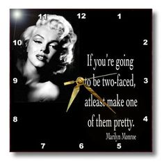 Amazon.com - 3dRose dpp_130254_3 If You are Going to Be Two-Faced Atleast Make One of Them Pretty Marilyn Monroe Quote Wall Clock, 15 by 15-Inch - Marilyn Monroe Picture
