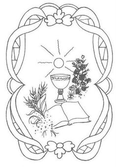 First Communion Chalice and Host and a few other first Eucharist . Boy Coloring, Coloring Pages For Boys, Colouring Pics, Coloring Books, Card Patterns, Embroidery Patterns, Hand Embroidery, First Communion Cards, First Holy Communion