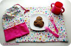 Mantel y bolsa merienda para el cole http://littlesunflowerhandmade.blogspot.com.es/