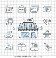 Illustration of Spotless Series Hand drawn shopping icon set vector art, clipart and stock vectors. Shop Icon, Icon Set, Royalty Free Images, Royalty Free Stock Photos, Shop 24, Doodle Fonts, Shop Interior Design, How To Draw Hands, Doodles