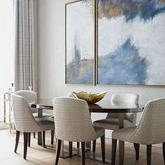 When working with artwork this striking, it is best to keep your designs simple. We designed this elegant dining room for the prestigious… Dinning Set, Dining Area, Dining Chairs, Dining Table, Luxury Dining Room, Elegant Dining Room, Dining Rooms, Dining Room Inspiration, Simple Designs