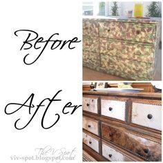 cowhide, dresser, rustic, cowboy, western, dresser re-do, studded dresser !!
