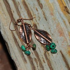 Copper and Turquoise earrings by solagratiadesigns on Etsy, $14.00
