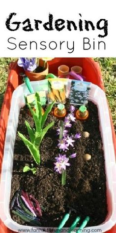 Garden Sensory Bin - to keep the small one out of my actual garden. She would love this! Must find fake plants...