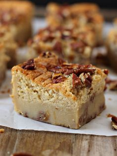 Pecan Pie Magic Cake Bars - one batter magically turns into two layers, cakey on top and custardy on the bottom! I will be making these soon!