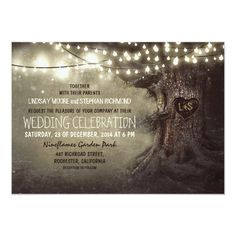 Old Oak Tree and Wood Heart Rustic Country Invitation Tree Wedding Invitations, Rustic Invitations, Wedding Card, Wedding Envelopes, Invites, Wedding Ideas, Rustic Lanterns, Wedding Lanterns, Oak Tree Wedding