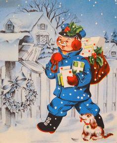 1112 50s Jolly Mailman Postman w Dog Vintage Christmas Card Greeting | eBay