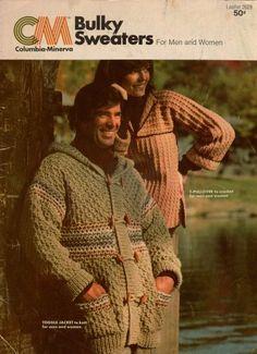 Columbia Minerva Bulky Sweaters Wrap Jacket Crochet Knitting Patterns 1976 #ColumbiaMineva #KnittingPattern