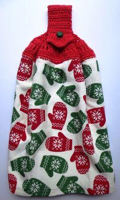 Crochet Towel Tops, Crochet Dish Towels, Crochet Kitchen Towels, Crochet Dishcloths, Crochet Gifts, Free Crochet, Knit Crochet, Crochet Poppy, Red Mittens
