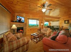 Sevierville Vacation Rental - VRBO 504872 - 4 BR East Cabin in TN, A Wahoo View! Lux 4 Bdr 5 Bth, 5 Min to Pig. Forge/ Incredible Mtn Views