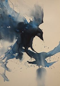 Crows by artist Sarah Yeoman. #watercolor #painting found on the FASO Daily Art Show - http://dailyartshow.faso.com