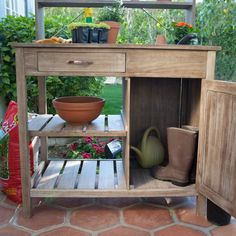 Outdoor Rustic Wooden Cooler Bar Serving Or Console Table