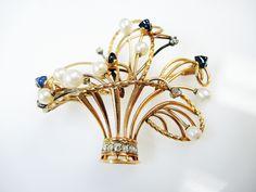 A Basket of Beautiful Blooms  #Edwardian #Brooch #Basket #Diamonds #Sapphires #Pearls #Bringbackthebrooch