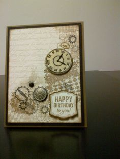 card using Stampin' Up!'s Clockworks stamp set, En Francais background stamp, a little clear embossing powder, and the Tags 4 You stamp set and Label Bracket punch. Masculine Birthday Cards, Birthday Cards For Men, Masculine Cards, Scrapbooking, Scrapbook Cards, Cue Cards, Stampinup, Beautiful Handmade Cards, Fathers Day Cards