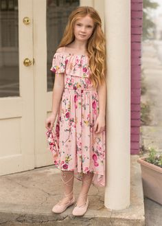 Joyfolie Gardenia Dress -Pink floral hi-low dress, with off the shoulder sleeves Hi Low Dresses, Kids Wear, Boutique Clothing, Frocks, Pink Dress, Beautiful Outfits, Ball Gowns, Kids Outfits, Girly