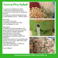 This salad is the perfect alternative to a pasta salad. It has a fresh and bright flavour that appeals even to your pickiest eaters! With Ham, peas and corn, what's not to love! Fast and delicious salad! Green Pea Salad, Green Peas, Easy Salad Recipes, Potluck Recipes, Thrive Life, Freeze Drying, Ranch Dressing, Picky Eaters, Cheddar Cheese
