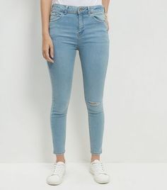 Blue Ripped Knee Ankle Grazer Skinny Jeans