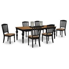 Bundle 29 Davenport Slate Dining Table Set In Tobacco 8 Pieces By Steve Silver Furniture