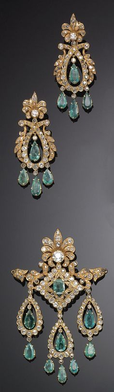 GOLD, EMERALD AND DIAMOND NECKLACE AND EARRINGS